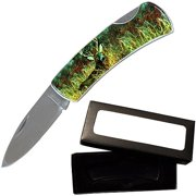 "Joy Enterprises FP20703 Fury Animal Litho Folding Pocket Knife with Presentation Box, 3.5"", Deer"