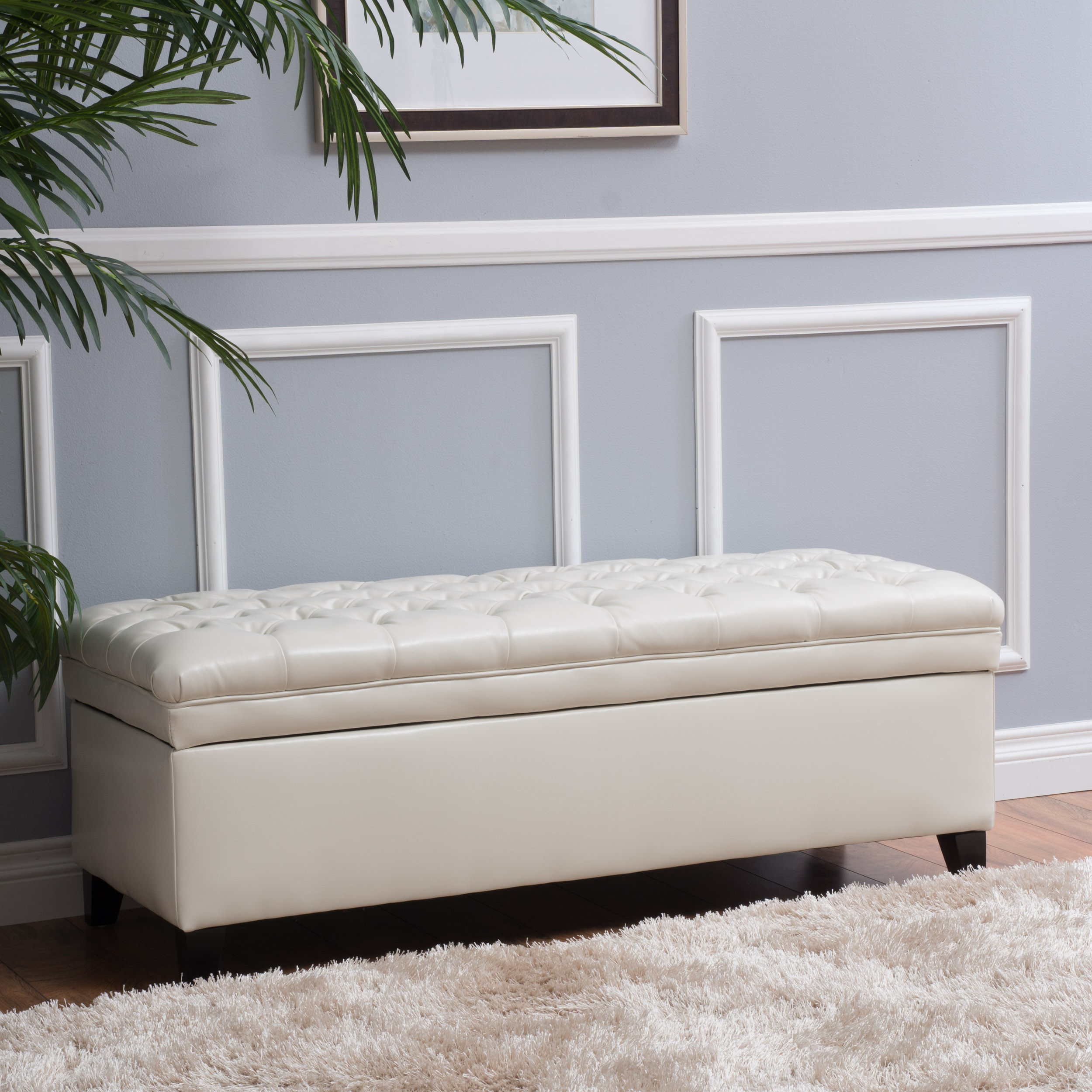 Amazing Noble House Jacky Faux Leather Ivory Storage Ottoman Pdpeps Interior Chair Design Pdpepsorg