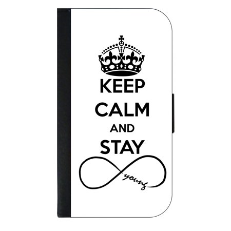 Keep Calm And Stay Forever Young Infinity Symbol Wallet Flip
