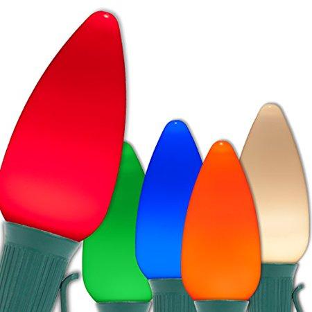 Opticore LED C9 Smooth Ceramic-Style Multi Color Christmas Lights with Shatterproof Christmas Bulbs, 25 Lights,