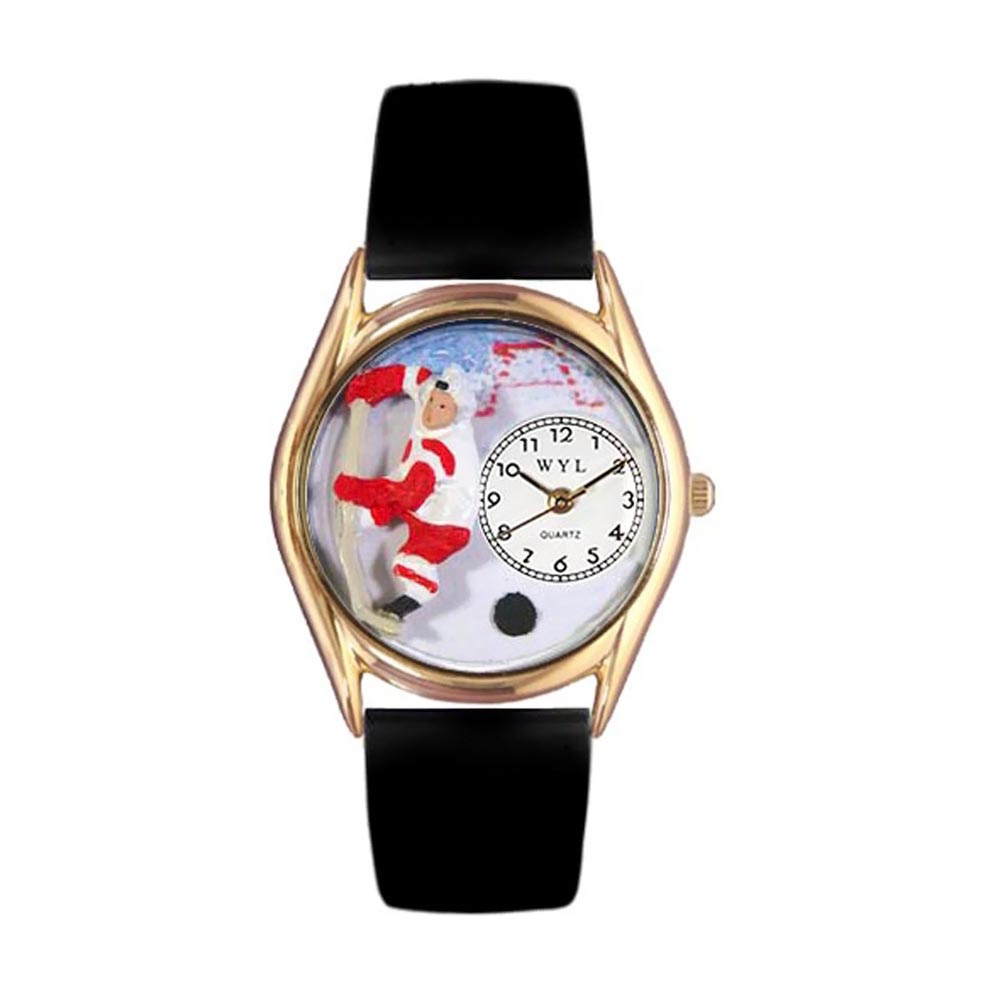 Whimsical Watches Kids C0820002 Classic Gold Hockey Black Leather And Goldtone Watch