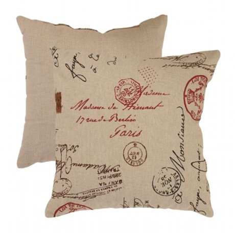 Throw Pillow In French : Pillow Perfect 474830 18 in. French Postale Throw Pillow - Linen-Red