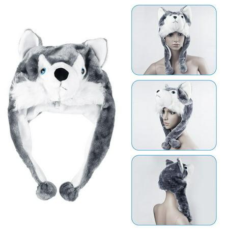 Cartoon Animal Style Wolf Hat Cute Fluffy kids Cap Soft Warm Scarf Earmuff Plush Hat Mascot Huskies Hat~~ - Wolf Hat