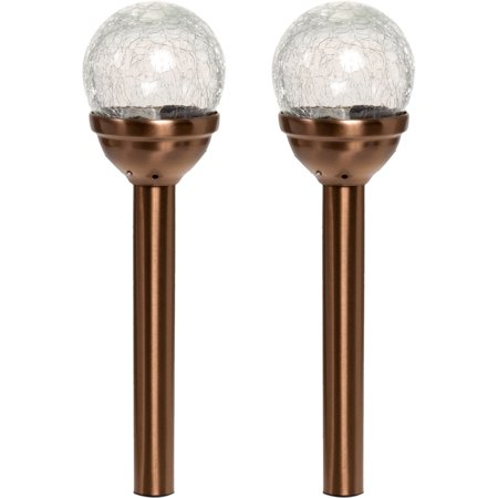 Greenlighting Bronze Mini Crackle Ball LED Garden Solar Stake Lights (2 Pack) ()