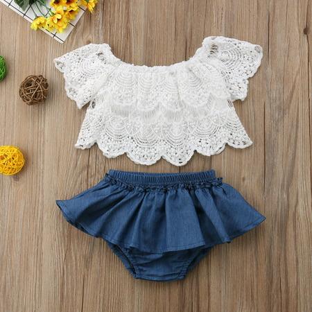 2PCS Infant Baby Girl Lace T-shirts Top+Shorts Pants Skirt Kid Clothes Set