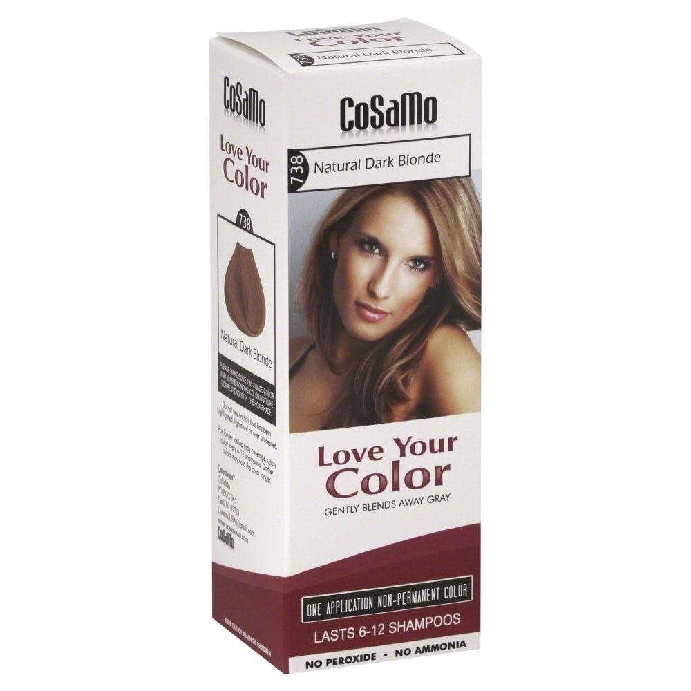 Cosamo Love Your Color Non-Permanent Hair Color, #738 Natural Dark Blonde, 3 fl Oz