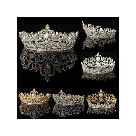 Luckefine Crystal Rhinestone Crown Tiara Wedding Pageant Bridal Diamante Headpiece - On Sale