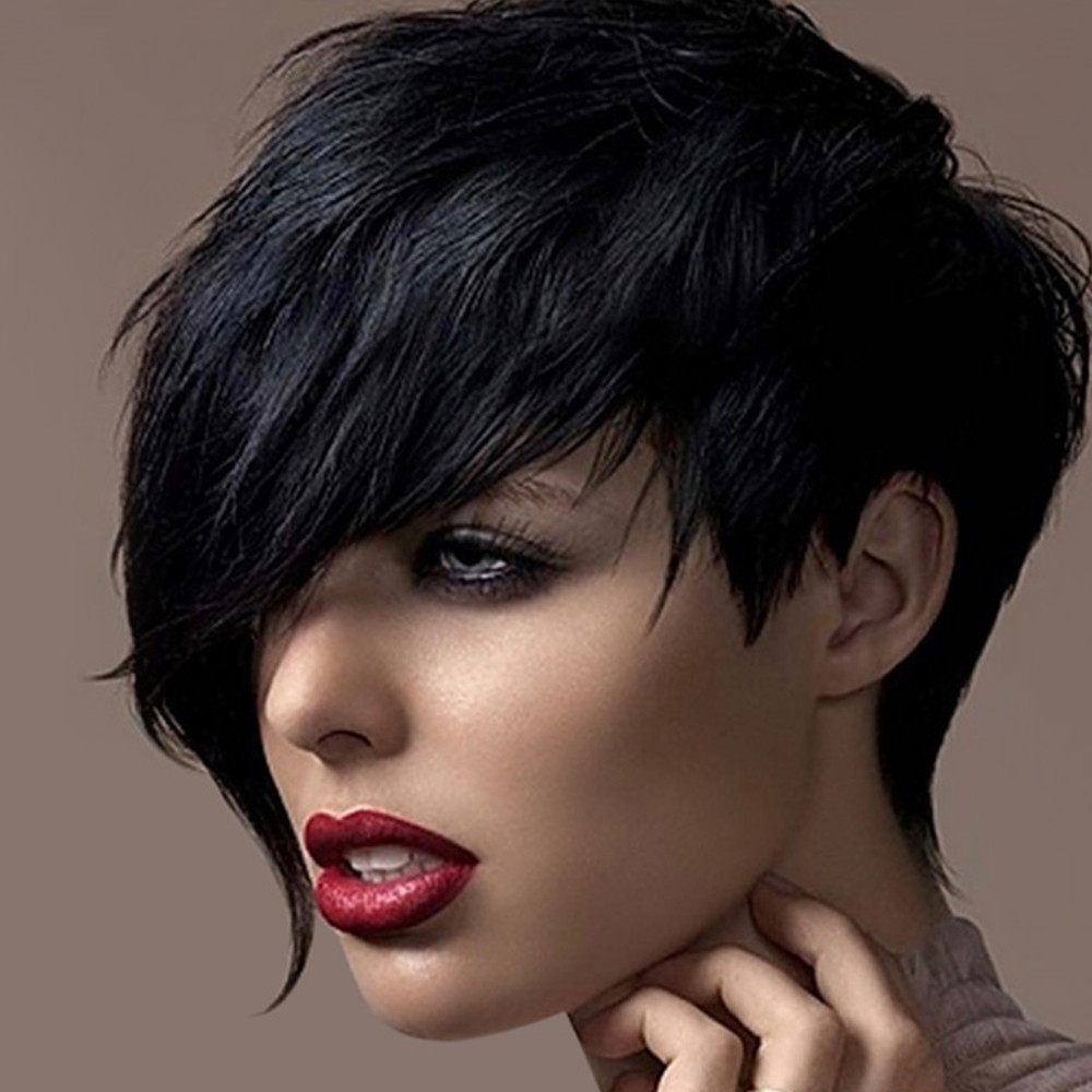 Tuscom Wigs Short Straight Synthetic Hair Full Wigs For Women Natural Looking Heat