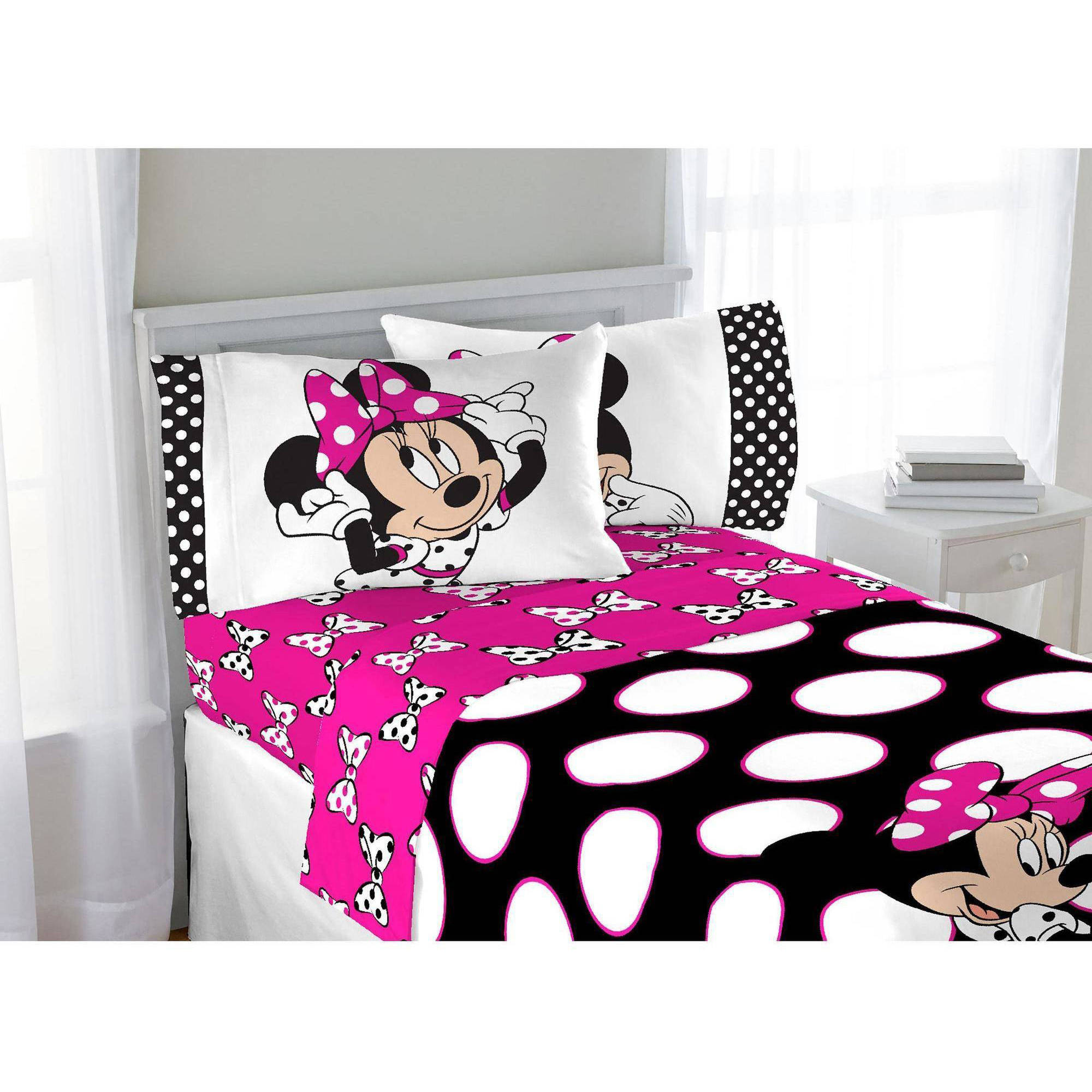 Exceptional Disney Minnie Dots Are The New Black Twin Sheet Set   Walmart.com