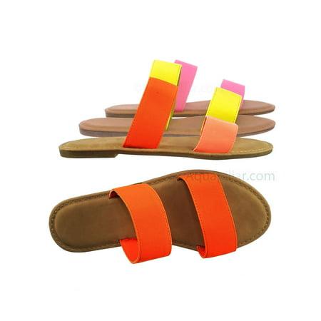 Shoreline92 by Bamboo, Double Band Flat Slipper Sandal - Women Padded 2 Strap Slide In Shoe (Copper Double Slipper)