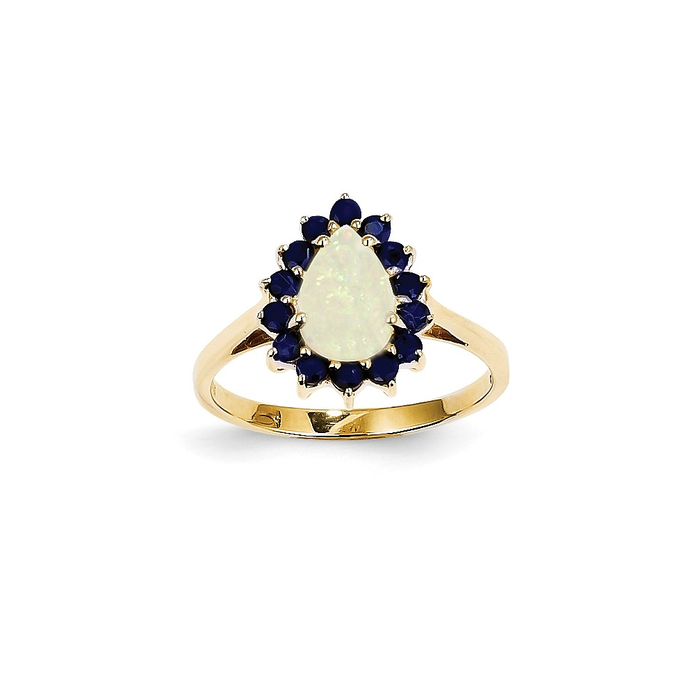14k Yellow Gold Pear Opal and Sapphire Ring. Gem Wt- 2.53ct