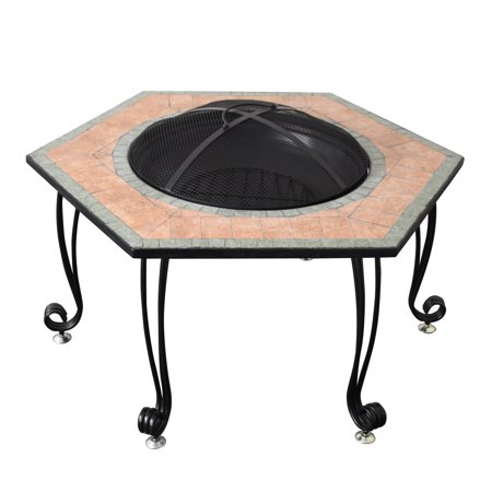 Astella 30' Fire Pit With Decorative ceramic tile in Black ()