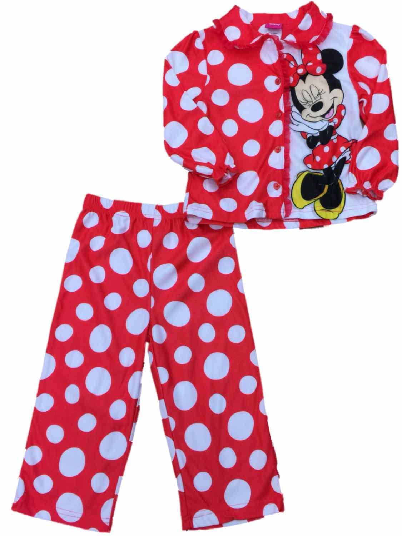 Toddler Girls Red & White Minnie Mouse Polka Dot Pajamas Flannel Sleep Set