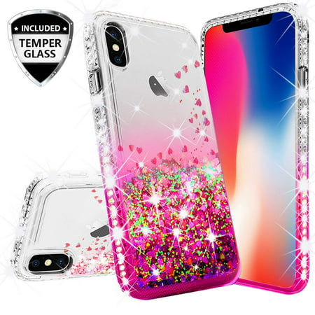 buy online d69f8 f8712 Compatible for Apple iPhone XR Case, with [Temper Glass Screen Protector]  SOGA Diamond Glitter Liquid Quicksand Cover Cute Girl Women Phone Case for  ...