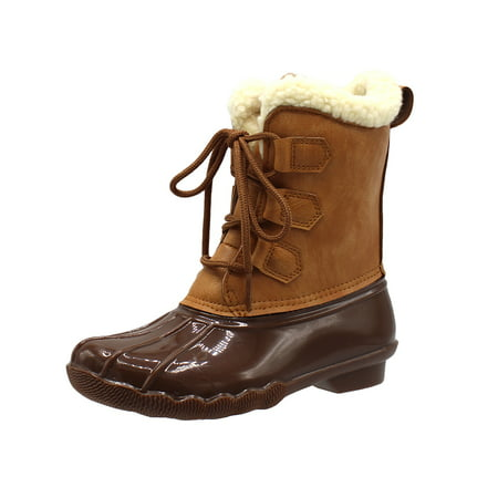 Duck Girls and Boys Lace Up Two Tone Combat Style Calf Rain Duck Boots