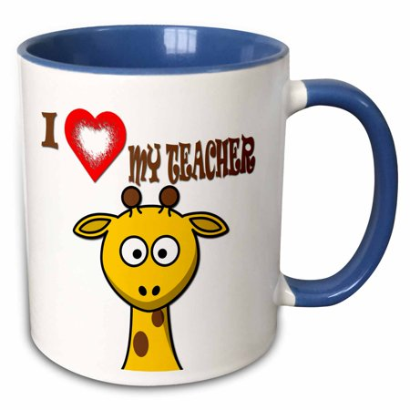 3dRose I love my teacher. Popular saying. Giraffe. - Two Tone Blue Mug, 11-ounce - Halloween Sayings For Teacher Gifts