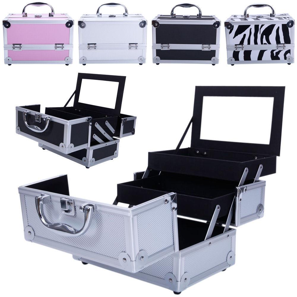Ktaxon Profassional Makeup Train Case Aluminum Jewelry Storage Box Lockable Cosmetic Organizer