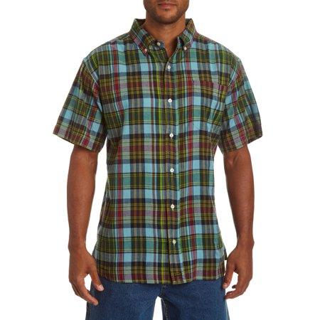 Stanley Men's short sleeve indigo overdyed plaid shirt.