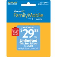 Walmart Family Mobile $29.88 Unlimited Monthly Plan (4GB at high speed, then 2G*) w Mobile Hotspot Capable (Email Delivery)