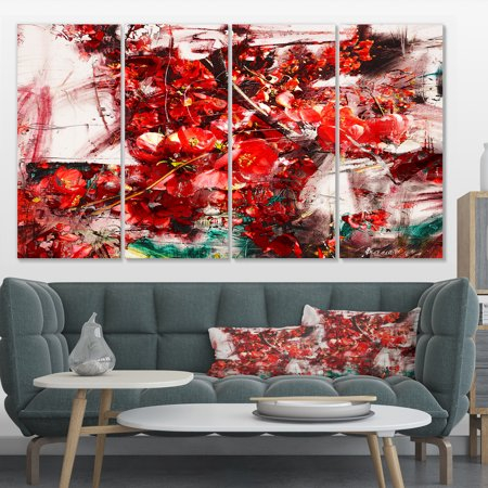 Red Flowers Texture Watercolor - Large Abstract Canvas Artwork - image 4 de 4