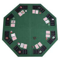 """Costway 48"""" Green Octagon 8 Player Four Fold Folding Poker Table Top & Carrying Case"""