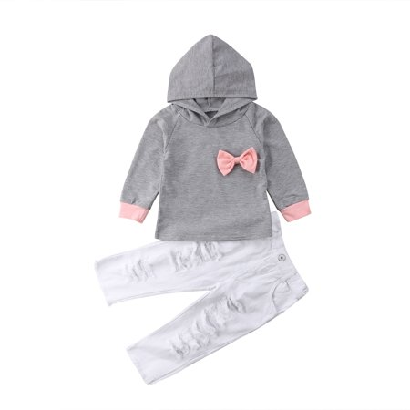 Little Baby Girl Long Sleeve Outfits Sets Hoodie T-Shirt Top and Denim Pants 2pcs Fall Winter Clothes 4-5T](Winter Soldier Outfit)