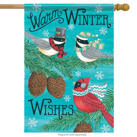 "Warm Winter Songbirds House Flag Double Sided Wishes Pinecones Snow 28""x40"""