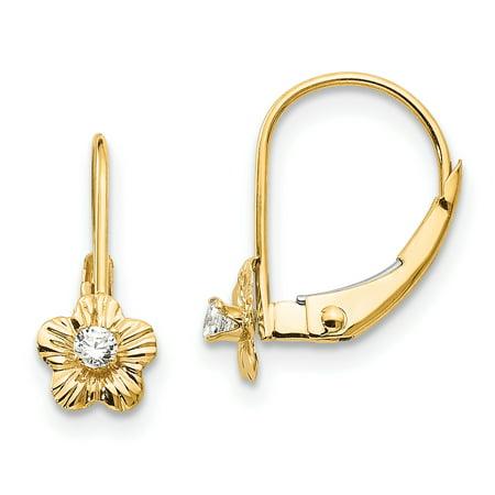 14K Yellow Gold Madi K Children's 6 MM Flower with CZ Lever back Earrings Yellow Gold Flower Earrings
