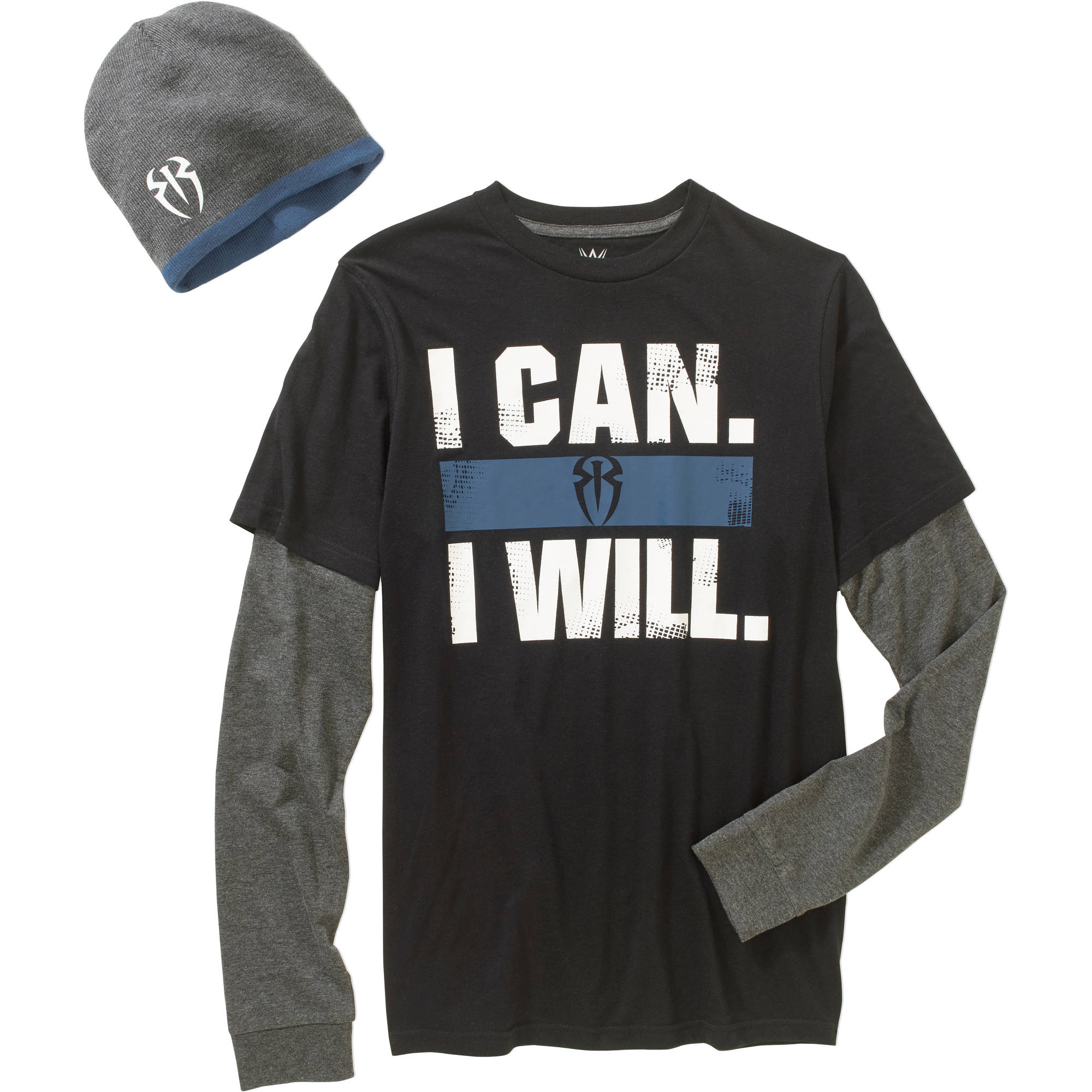 WWE Roman Reigns Men's Combo Graphic Shirt & Beanie