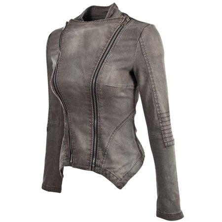 - Women's Juniors Long Sleeve Denim Blazer Fitted Jacket