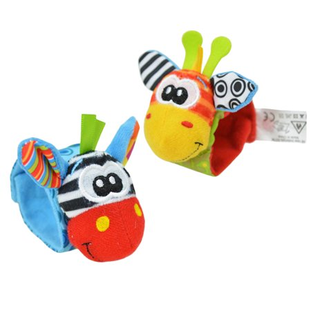One Pair Lovely Infant Baby Kids Animal Hand Wrist Bells Rattles Soft Toys