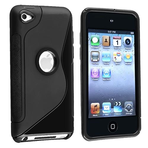 Insten TPU Rubber Skin Case For Apple iPod touch 4th Generation, Frost Black S Shape