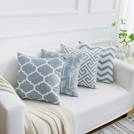 Wendana Grey Throw Pillow Cases Decorative Soft Geometric Style Throw Pillow Cover Cushion Case for Sofa 18 x 18 Inch Set of 4 ()