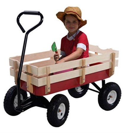 Red Outdoor Wagon ALL Terrain Pulling Children Kid Garden Cart w/ Wood Railing