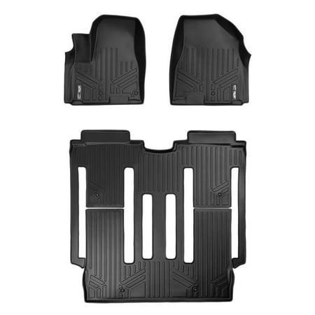 Kia Sedona Cargo Floor Mat (Maxliner 2015-2019 Kia Sedona 8 Passenger Only Floor Mats Complete Set Black A0203/B0203 )
