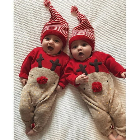 Newborn Baby Boy Girls Christmas Romper Bodysuit Clothes Outfit Set +Hat