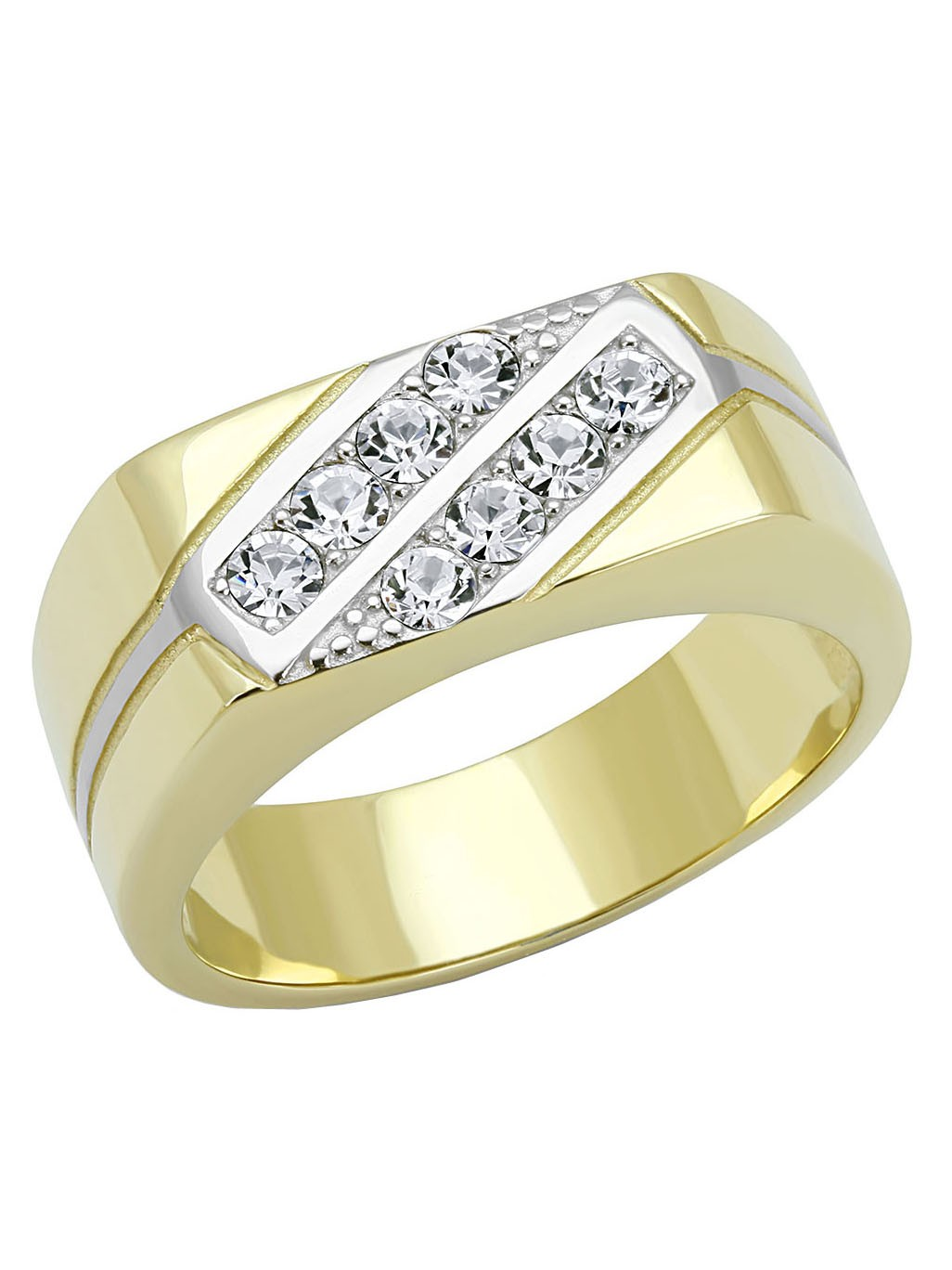 Top Grade Crystal Set in Two-Tone IP Gold Stainless Steel Mens Ring - Size 8