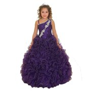 Girls Purple Single Shoulder Strap Pageant Dress 8-12