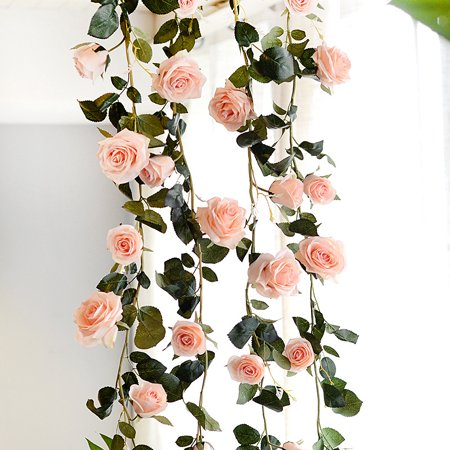 Floating Silk Rose Petals (6 Feet Hand-made Artificial Silk Rose Vines Decorative Fake Rose Flower for Home Wall Garden Wedding Party Decor - Pink)