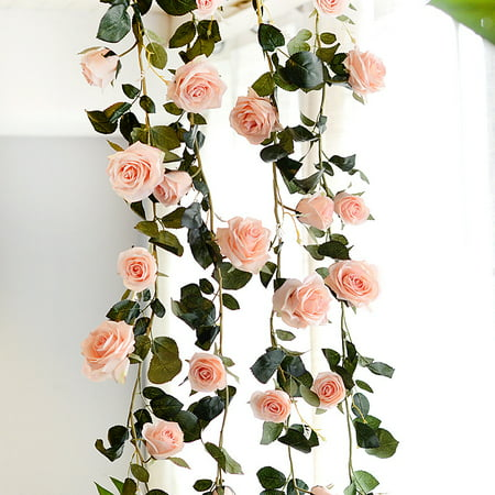 6 Feet Hand-made Artificial Silk Rose Vines Decorative Fake Rose Flower for Home Wall Garden Wedding Party Decor - Pink