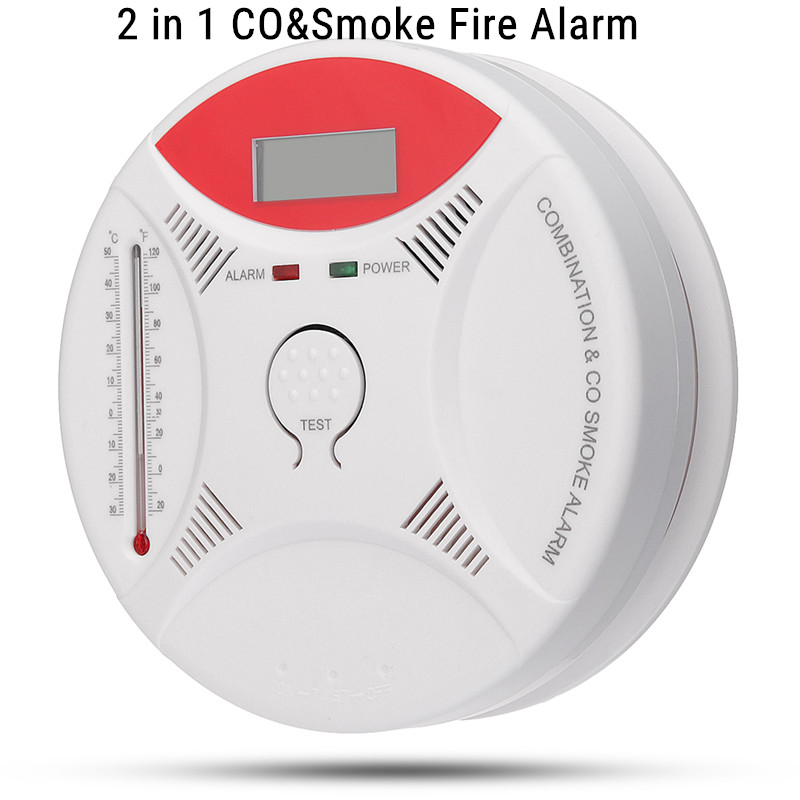 CO Alarm Detector ,CO Carbon Monoxide Detector,With thermometer,First Alert Smoke Fire Alarm Combo Sensor,Digital Display Security Gas CO for Home Room Kitchen Office