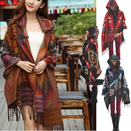 Women Fashion Bohemian Collar Plaid Cape Cloak Poncho Jacket Coat Shawl Scarf Collar Cotton Women Poncho