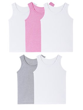 Fruit of the Loom Assorted Layering Tank Undershirts, 5 Pack (Toddler Girls)