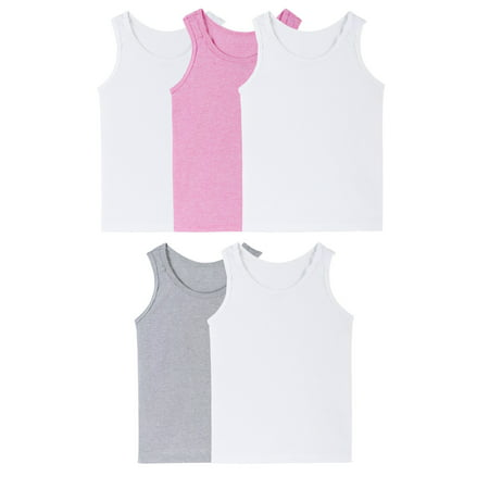 Fruit of the Loom Assorted Layering Tanks, 5 Pack (Toddler Girls) (Assorted Value Pack)