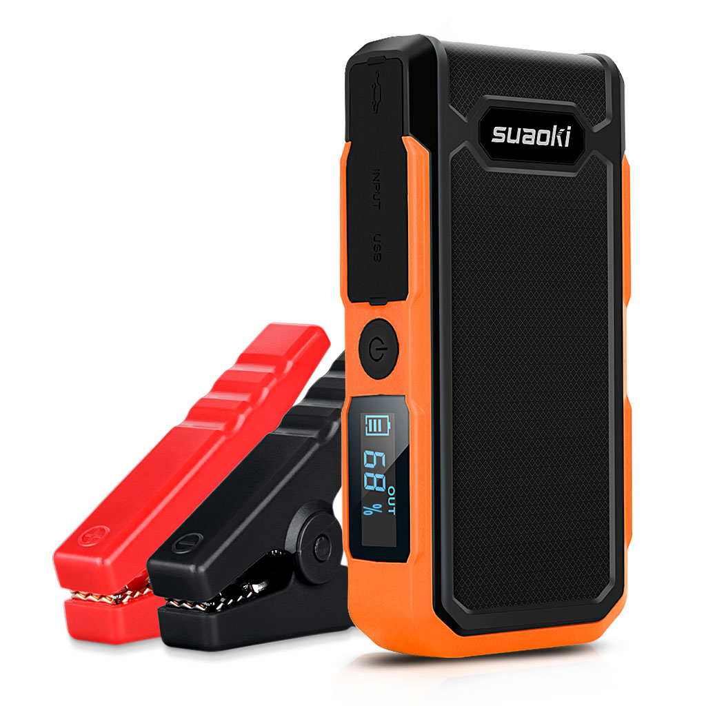Suaoki 800A Peak Car Jump Starter 20000mAh Emergency Jump Start Auto with Intelligent Alligator Clamps Rechargeable Battery Booster and Charger with LCD Flashlight, Orange