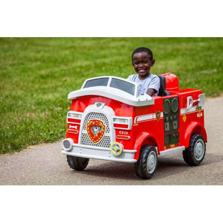 Paw Patrol Fire Truck 6 Volt powered Ride On Toy by Kid Trax, Marshall - Lightning Mcqueen Ride In Car
