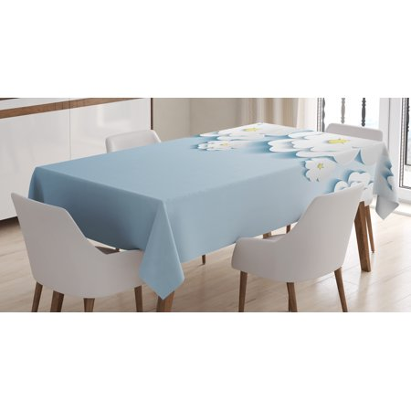 Flowers Tablecloth, Abstract 3D Style Effect Cherry Blossoms Modern Spring Sakura Pattern, Rectangular Table Cover for Dining Room Kitchen, 60 X 90 Inches, Light Blue and White, by Ambesonne