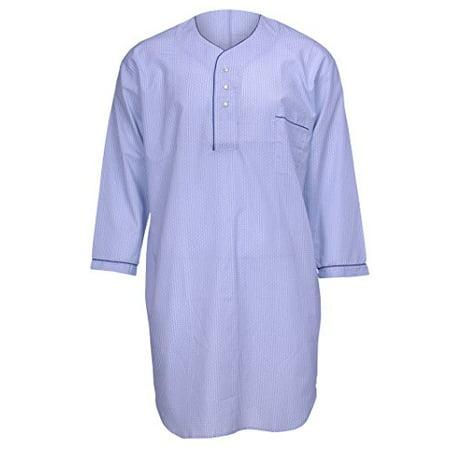 Men's Poly/Cotton Adaptive Backsnap Nightshirt Sleepshirt Assorted Prints (Medium) - Mens Night Shirt
