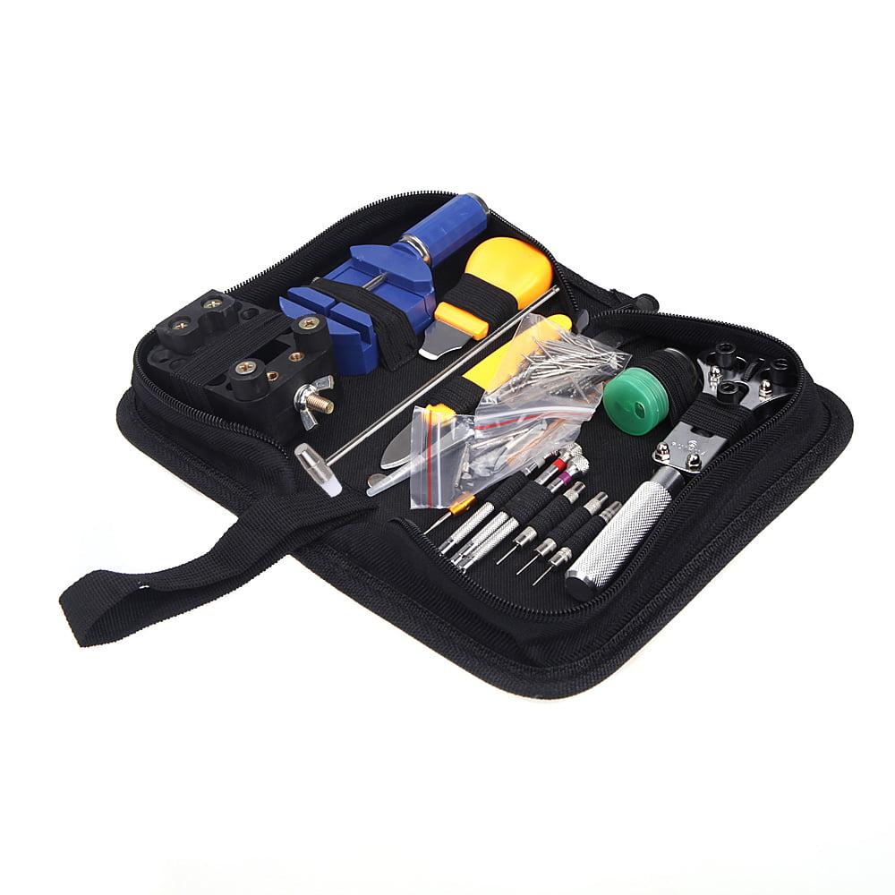 Portable 144pcs Watch Repair Tool Kit Watchband Link Remover & Zip Case Watchmaker