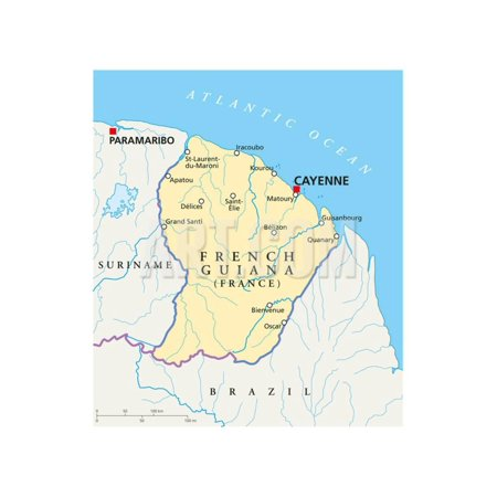French Guiana Political Map Print Wall Art By Peter Hermes (Best Time To Visit French Guiana)